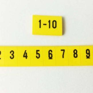 oznacznik kablowy cyfry od 1 do 10. Profil żółty mocna przylegający do przewodu. oznaczniki elektryczne