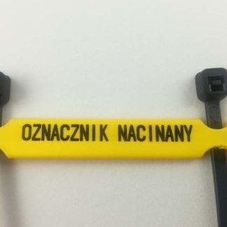 oznacznik kablowy montowany do przewodu za pomocą opaski zaciskowe. Możliwość wykonania dowolnego napisu za pomocą markera