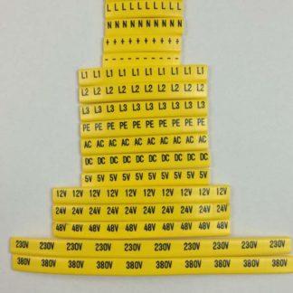 zestaw oznaczników elektrycznych zawierający wszystkie niezbędne symbole. L1,L2,L3 PE N.