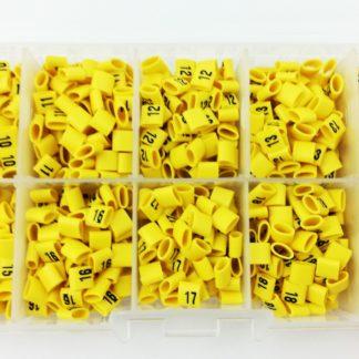 zestaw oznaczników kabli. liczby od 10 do 19. oznaczniki zapakowane w pudełko nasuwane na przewody. oznaczniki elektryczne