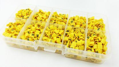 Znaczniki przewodów elektrycznych w pudełku 1000 sztuk.