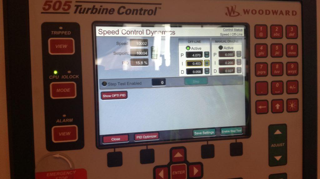 Wyświetlacz Regulatora Woodward 505E, Turbine control, Woodward, 505, nastawa regulatora PID, PID nastawy