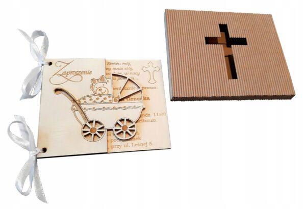 Zaproszenie Chrzest Święty; Chrzest Święty; zaproszenie grawerowane; zaproszenie drewniane; zaproszenia dla rodziców chrzestnych